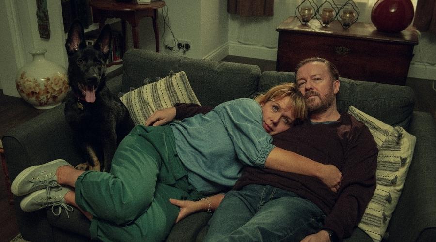 Ricky Gervais and Kerry Godliman (Credit: Ray Burmiston/ Netflix)