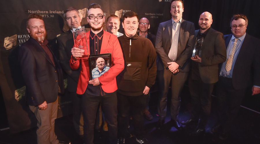 Animation Award Winners: Belfast Metropolitan College's Vito the Clown, Gavin O'Connor Clarke, Sean Burns and Conor McAllister with Gareth Graham from Performance Film and Media who sponsored the award, Dr Stephen Farry, MLA and tutors from Belfast Metrop