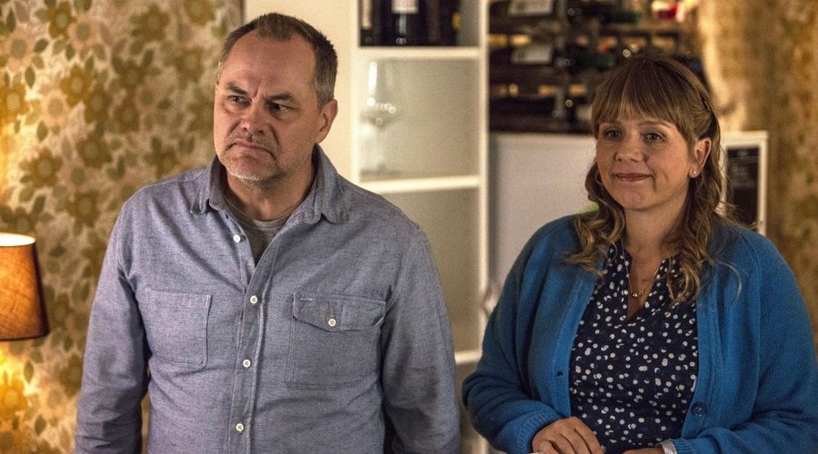 Steve (Jack Dee) and Nicky (Kerry Godliman) in Bad Move (Credit: ITV)