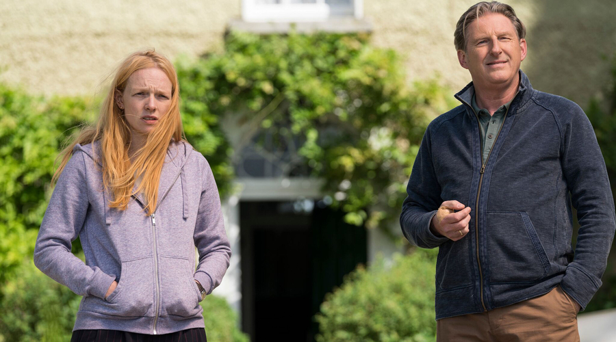 Adrian Dunbar (Jim Hogan) & Carolina Main (Cat Hogan) in Blood (Credit: Channel 5)
