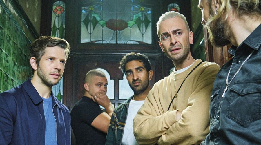 Joe Gilgun as Vinnie, second from right, in Brassic (credit: Sky)