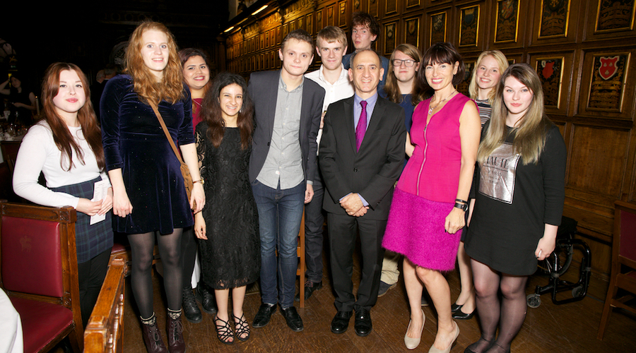 Bursary students join comedy writer Armando Iannucci and RTS CEO Theresa Wise at an event in London last year