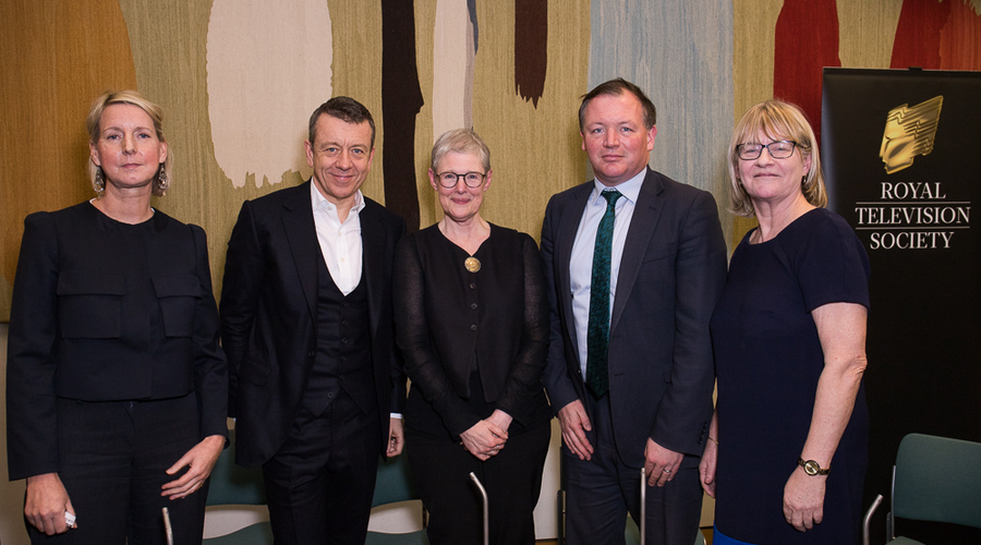 From left to right: Suzanne Mackie, Peter Morgan, Philippa Lowthorpe, Damian Collins MP and Baroness Bonham-Carter (Credit: Paul Hampartsoumian)