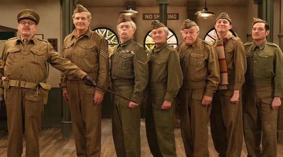 Kevin R. McNally, Robert Bathurst, Kevin Eldon, David Hayman, Timothy West, Tom Rosenthal and Mathew Horne in Dad's Army: The Lost Episodes (Credit: UKTV/Gold)