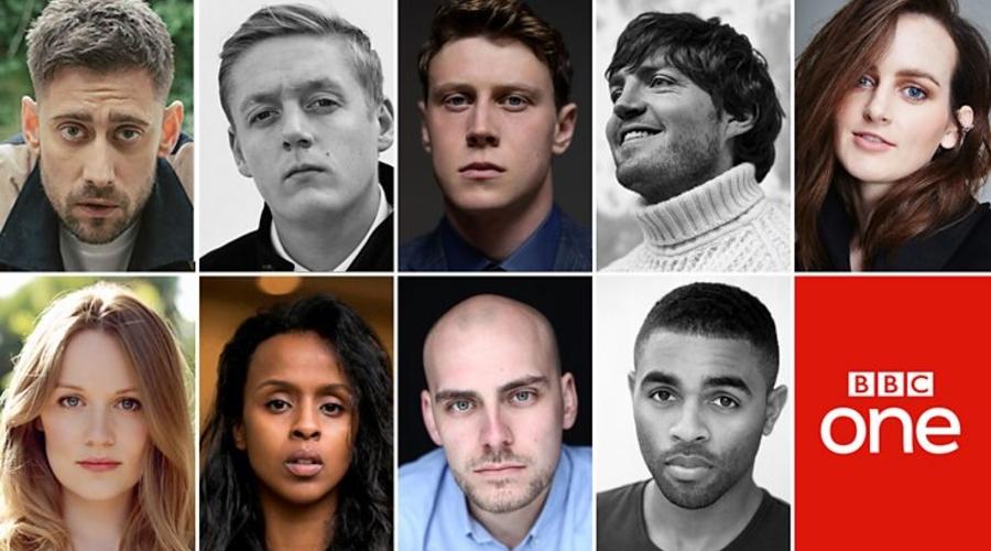 Top L-R: Michael Socha, Thomas Turgoose, George MacKay, Tom Burke, Sophie McShera. Bottom L-R: Cara Theobold, Yusra Warsama, Samuel Edward-Cook, Anthony Welsh (credit: BBC)