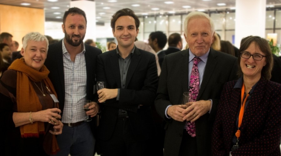 Left to right: Trustees Wendy Wilson & Paul Harrison, Sky News' Political Corrospondent, Lewis Goodall, David Dimbleby and trust founder, Susie Schofield (Credit: Emily Freya)