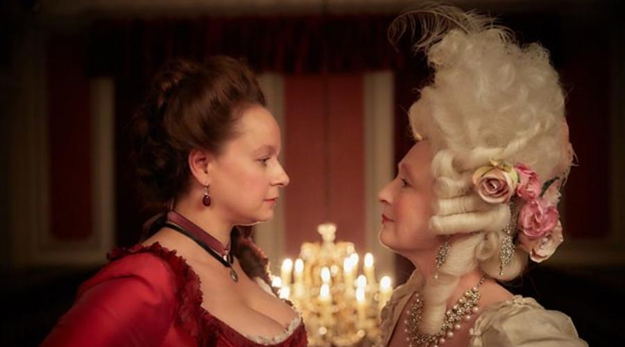 Samantha Morton and Lesley Manville in Harlots (credit: BBC)