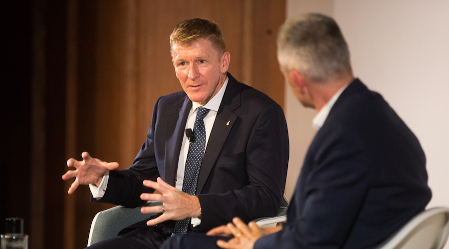 Tim Peake in conversation with Tim Davie (Credit: RTS/Paul Hampartsoumian)