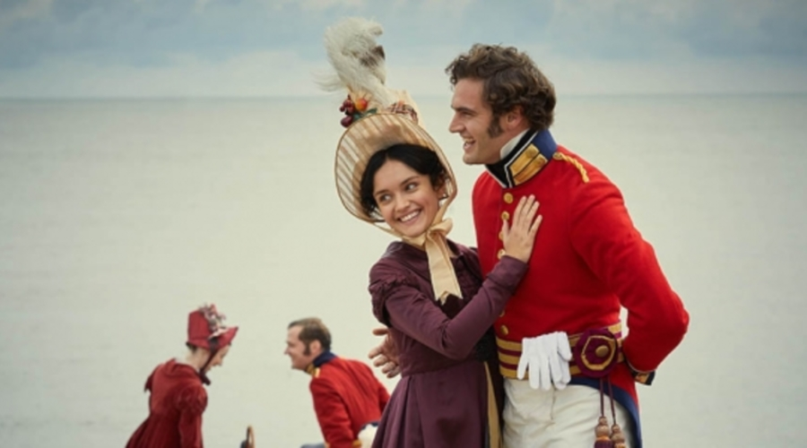 Olivia Cooke and Tom Bateman star in ITV's Vanity Fair (Credit: ITV)