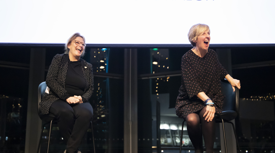 Julie Hesmondhalgh with Noreen Kershaw (Credit: Jess Boulton)