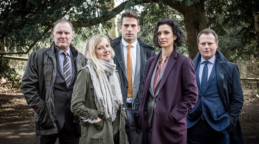Some of the Paranoid cast: (L-R) Robert Glenister, Lesley Sharp, Dino Fetscher, Indira Varma and Neil Stuke (Credit: ITV)