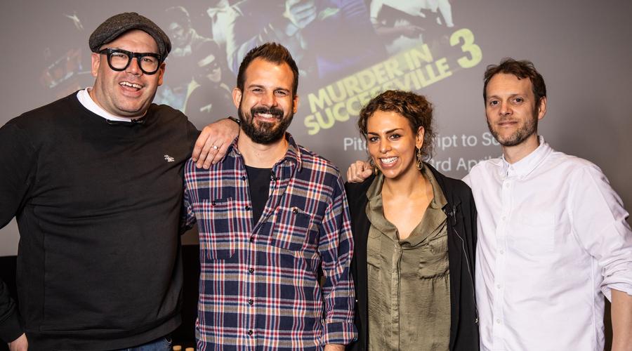 The panellists (l-r) Tom Davis, James de Frond, Lara Singer and Andrew Brereton (Credit: RTS/Paul Hampartsoumian)