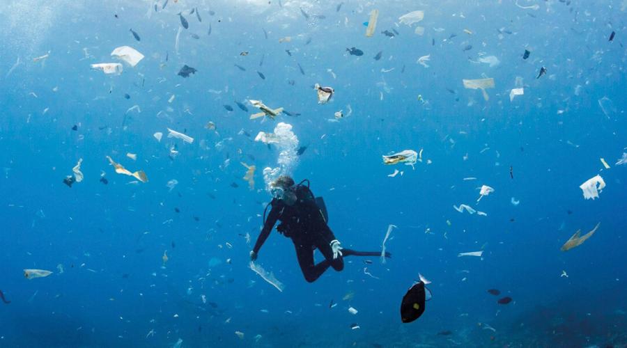 Plastic pollution at Manta Point, off the coast of Indonesia (Credit: Jukka Saarikorpi)