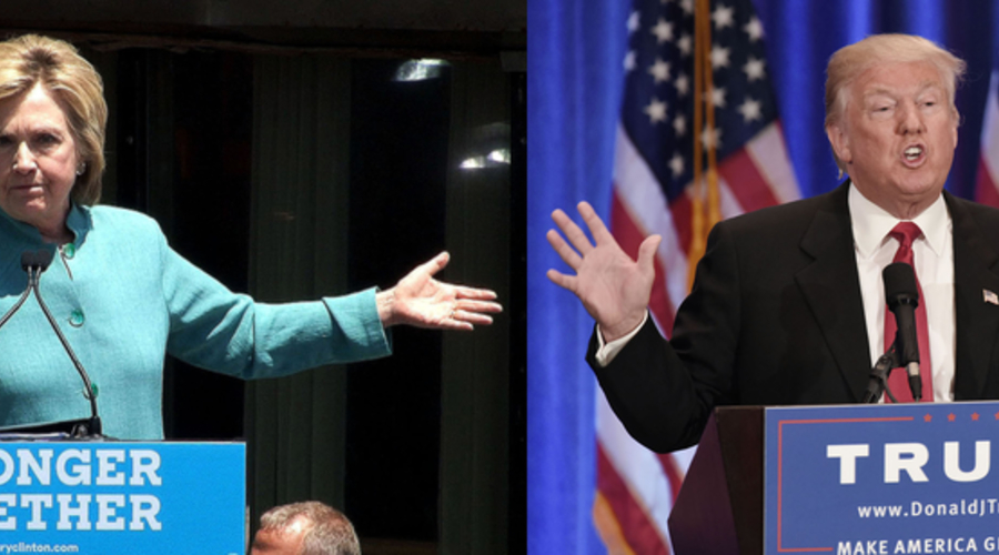 Left: Trump giving a speech at the Trump SOHO Hotel in New York in June. Right: Clinton giving a speech in Atlantic City Credit in July: REX/Shutterstock