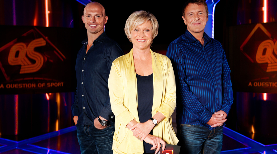 Matt Dawson, Sue Barker, Phil Tufnell the regular panelists on A Question of Sport (Credit: BBC/Stephen Brooks)