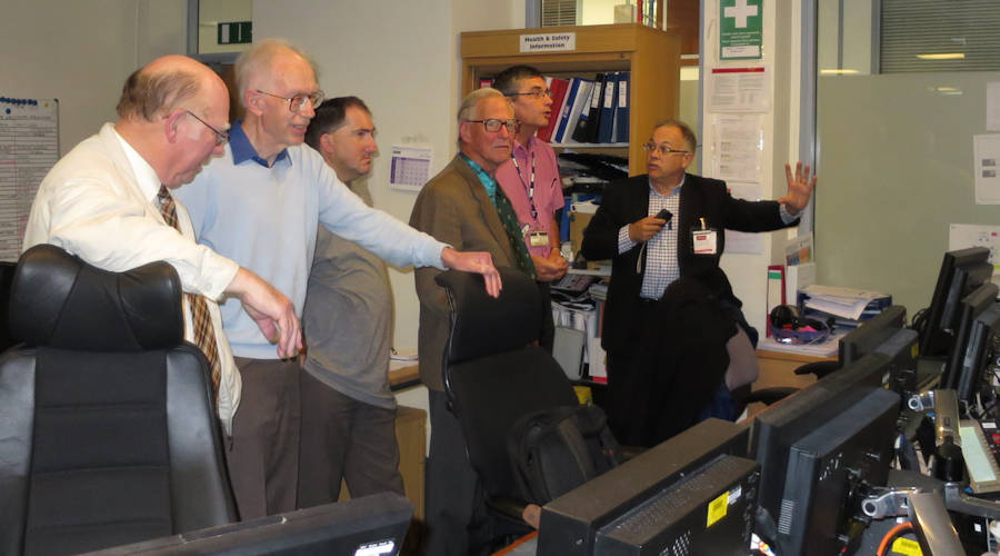 Members visiting the Master Control Room, BBC Wales