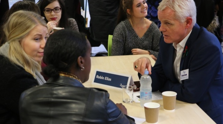 Managing Editor ITV News, Robin Elias talks with journalism students at the Southern Centre's Working in Journalism event.
