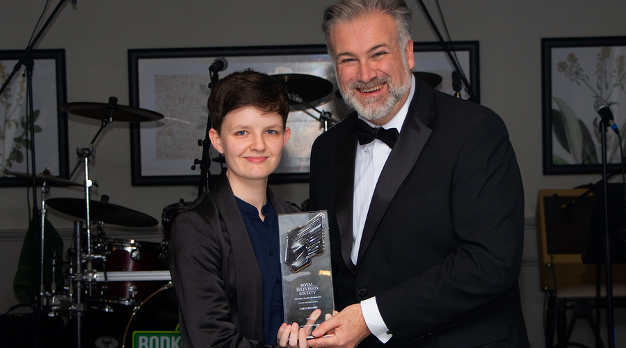 Young Technologist winner Carys Hughes, Sky UK, with Tony Orme RTS TVC Chairman (Credit: Matt Robbins)
