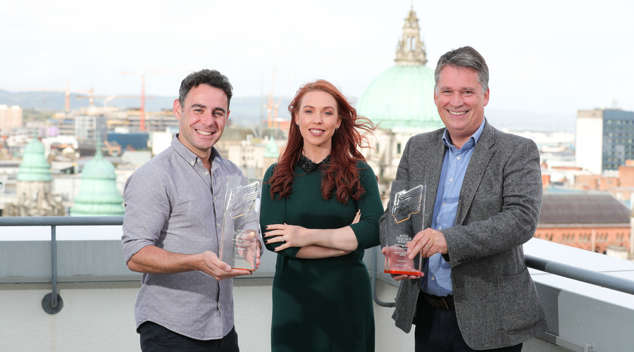 Kieran Doherty, Chair, RTS NI Awards is pictured with Richard Williams, Chief Executive, Northern Ireland Screen and Maeve McLoughlin, Vice Chair of RTS NI to announce this year's RTS NI Awards finalists from the rooftop of Bedford House, Belfast.