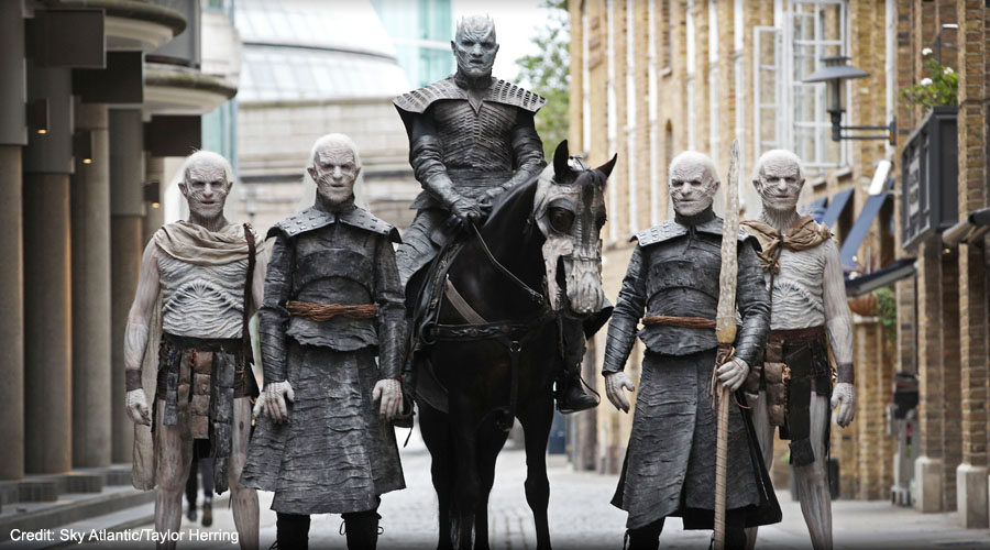Game of Thrones characters on Westminster Bridge