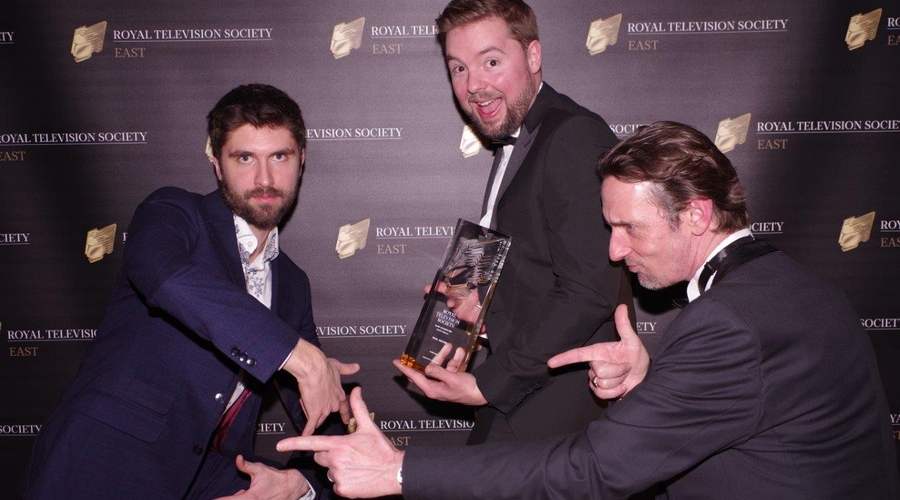 Forward celebrates winning the Craft Award Company founder Tom martin is holding the trophy (credit: Donna Talby)