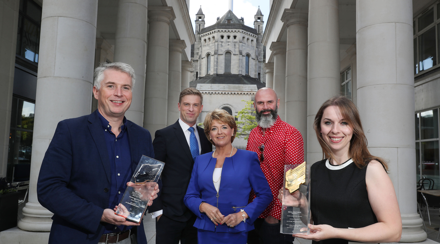 Local broadcasters join forces to launch RTS NI Awards  RTS NI Chairman Steve Carson is pictured with Marc Mallet and Rose Neill from UTV Live, Joe Lindsay from Getaways BBC NI and RTS NI Awards Chair Sarah McCaffrey in St Annes's Square, Belfast to launc
