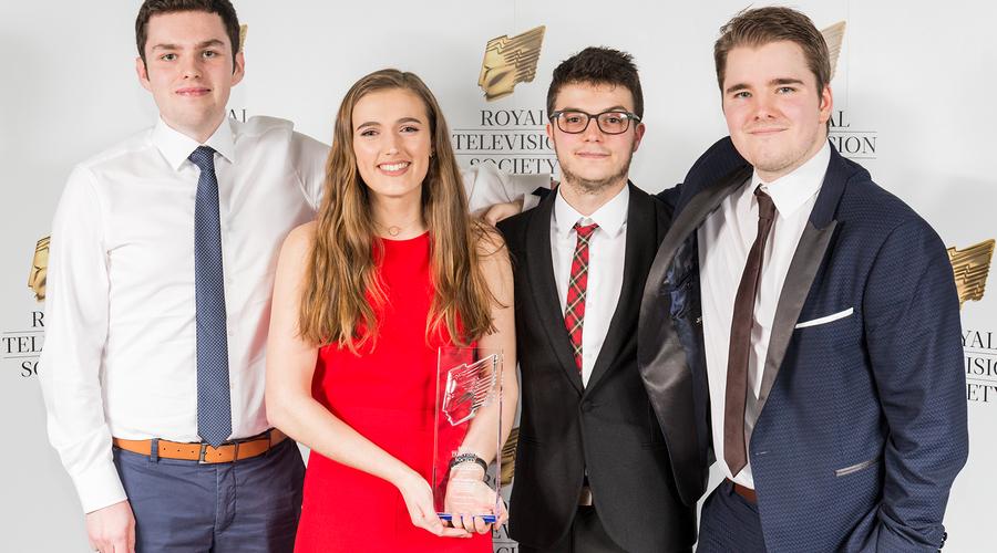 L-R) Jamie Sutherland, Kate Galbraith, Sean Hayman and Calum McIntosh, winners of Best Factual
