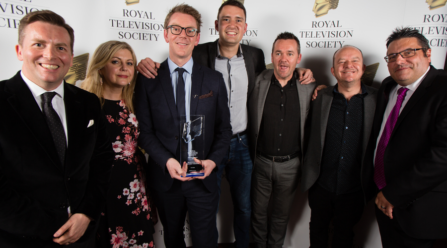 Sky Sports (L-R) David Tanner, Lorna Davidson, Paul McKenna, Richard Davidson, Andy Walker, David Carton, Ian Crocker, one of the winners of Best Sport Award