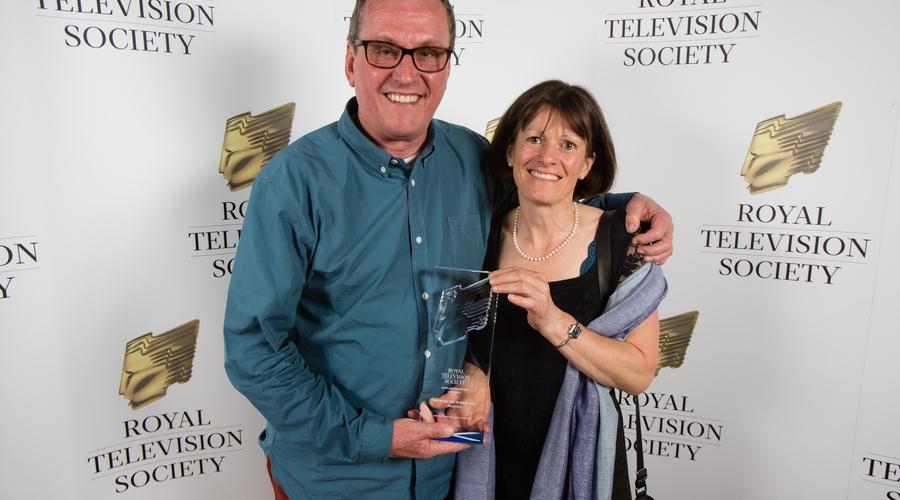BBC Scotland Dougie Napier and Cathy Stokes, winner of Best Children's Award