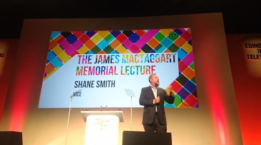 Shane Smith delivering the 2016 MacTaggart lecture (Credit: RTS)