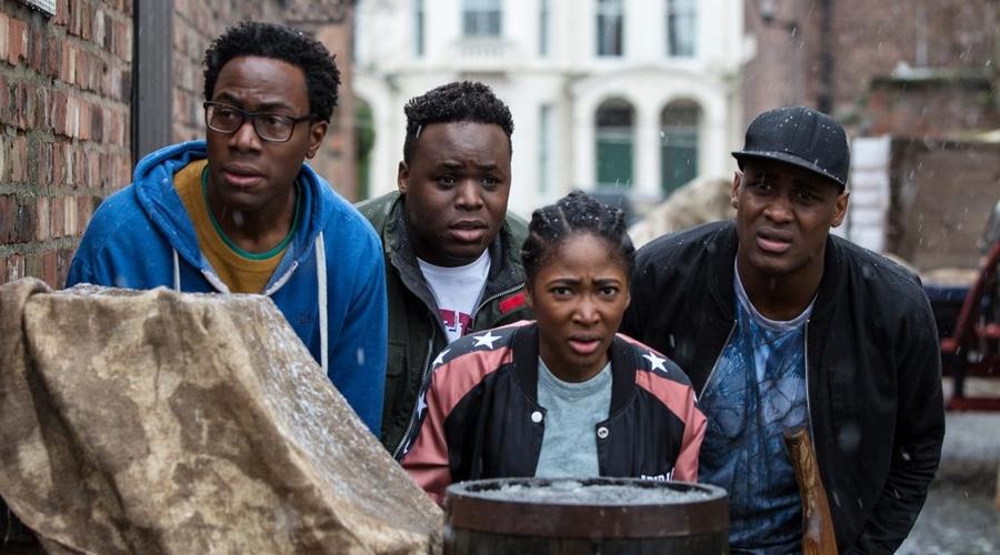Nick (Daniel Lawrence Taylor), Horace (Samson Kayo), Lauren (Adelayo Adedayo) and Jason (Kadiff Kirwan) (Credit: ITV/Big Talk Productions)