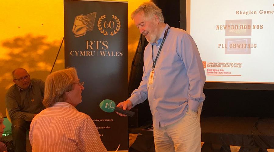 Tim Hartley being interviewed by Hywel Gwynfryn of BBC Radio Cymru (the BBC's Welsh language radio station)