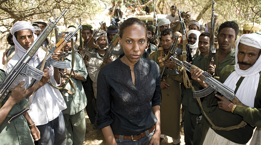 Nima Elbagir, reporting for Channel 4's Sudan: Meet the Janjaweed in 2008 (Credit: Channel 4)
