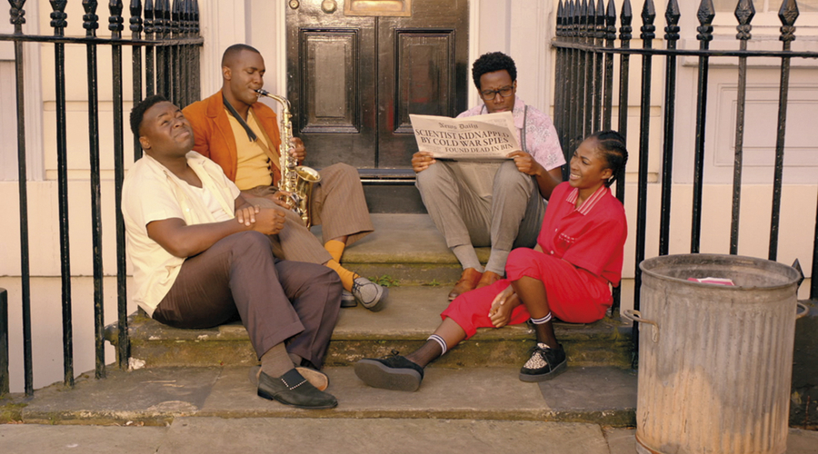 Samson Kayo (Horace), Kadiff Kirwan (Jason), Daniel Lawrence Taylor (Nick) and Adelayo Adedayo (Lauren) in Timewasters (Credit: ITV)