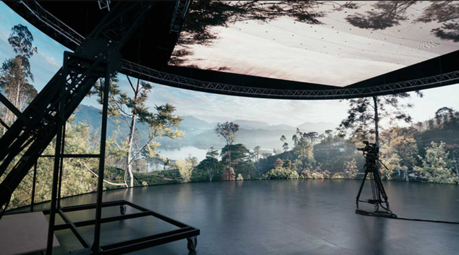 Wall and ceiling-mounted LED screens provide a virtual forest (Credit: ARRI)