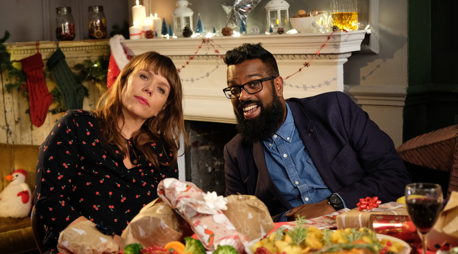 Kerry Godliman & Romesh Ranganathan in Dave's Advent Calendar (Credit: UKTV)