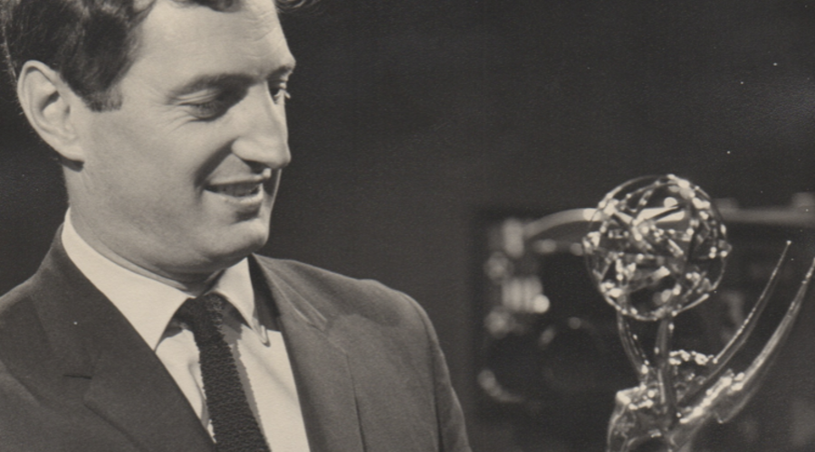 Roger Gage with the Emmy he won for the 1965 series Wyvern At War