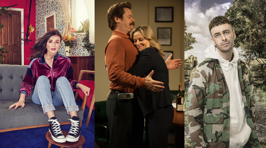 This Way Up, Parks and Recreation and Brassic (credit: Channel 4/ NBC/ Sky)