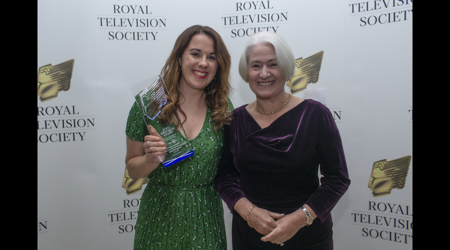 Ceri Isfryn Young Journalist recipient with Celia Sinclair