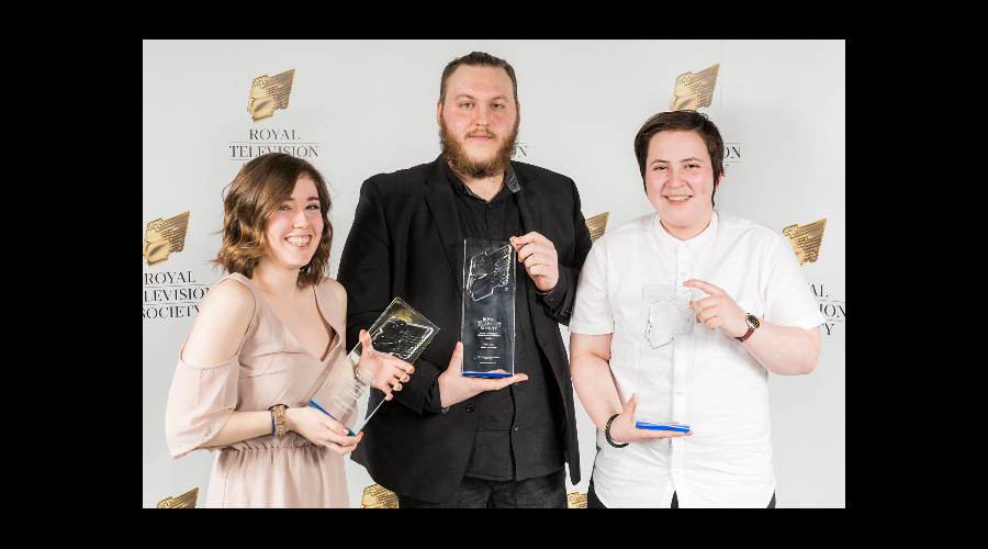 (L-R) Aurora Gibson, James McAlpine and Marsaili Stewart-Skinner, winners of the craft awards at the RTS Scotland Student Awards 2017 on the 1st of March 2017 at The Hub Glasgow.