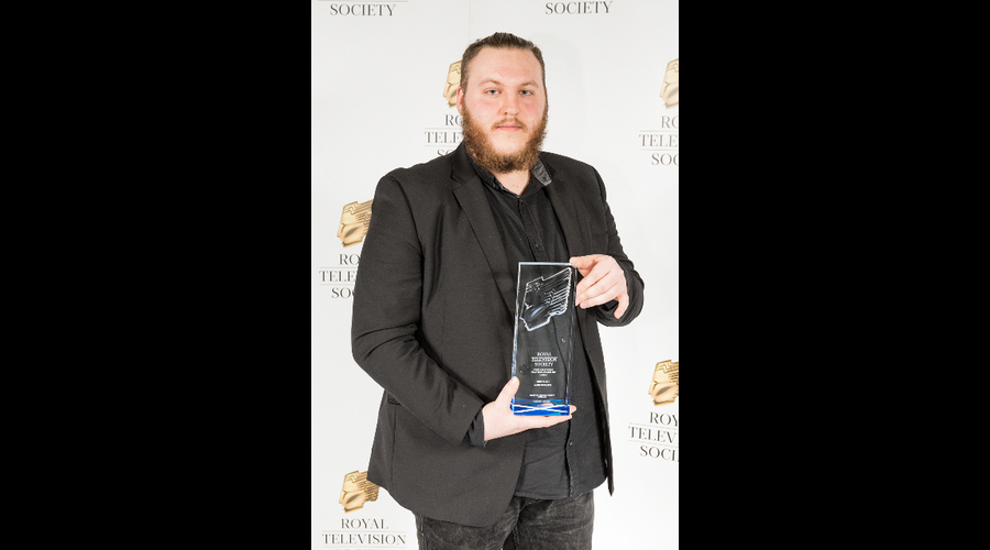 James McAlpine, winner of Best Camera, at the RTS Scotland Student Awards 2017 on the 1st of March 2017 at The Hub Glasgow.