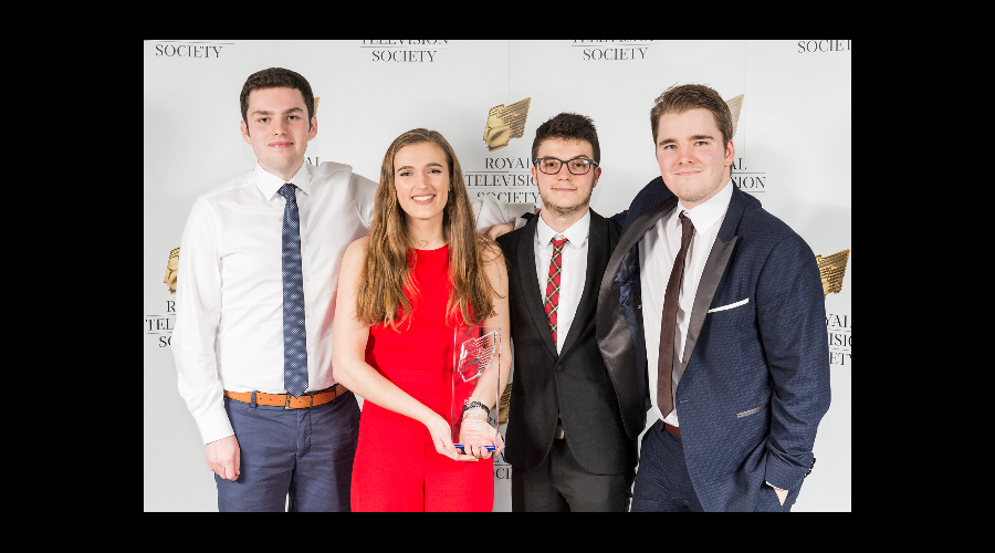 (L-R) Jamie Sutherland, Kate Galbraith, Sean Hayman and Calum McIntosh, winners of Best Factual, at the RTS Scotland Student Awards 2017 on the 1st of March 2017 at The Hub Glasgow.