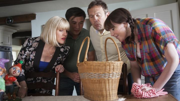 Agatha Raisin (Ashley Jensen), DCI Bill Wong (Matt McCooey) and Charles Fraith (Jason Merrells) in Sky One's Agatha Raisin (Credit: Sky)