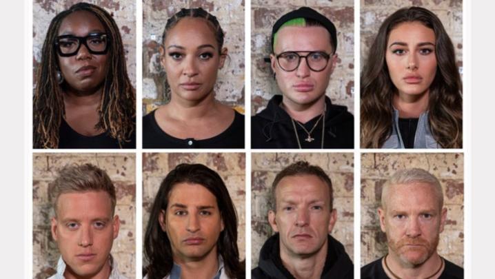 (Top row L-R) Chizzy Akudolu, Lisa Maffia, The Vivienne (aka James Williams), Chloe Veitch; (Bottom row L-R) Gareth Locke, Ollie Locke, Richard Whitehead, Iwan Thomas (Credit: Channel 4)