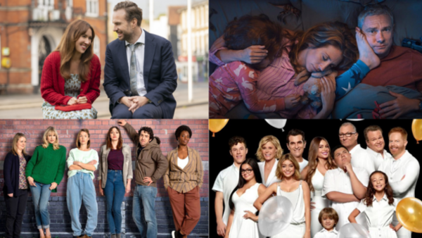 Clockwise L-R: Trying (Credit: Apple TV), Breeders (Credit: Sky), Modern Family (Credit: Sky), Motherland (Credit: BBC)