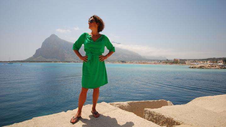 Alex Polizzi in San Vito on her trip around Italy's islands
