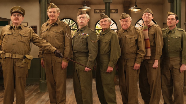 Kevin R. McNally, Robert Bathurst, Kevin Eldon, David Hayman, Timothy West, Tom Rosenthal and Mathew Horne in Dad's Army: The Lost Episodes (Credit: UKTV/Gold)