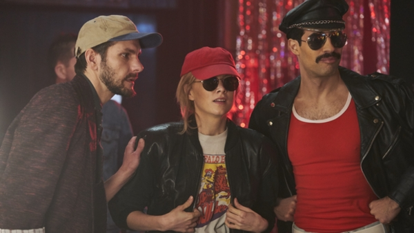 Kenny Everett (Matthew Baynton), Princess Diana (Sophie Rundle) and Freddie Mercury (David Avery) (Credit: Sky)