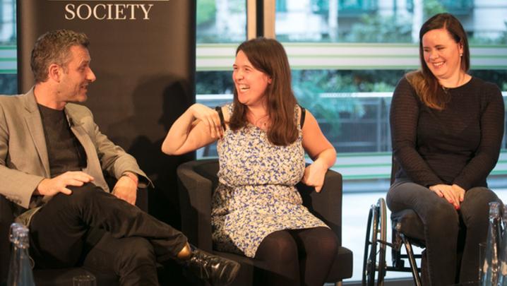 Adam Hills, Rosie Jones and Shannon Murray (Credit: Paul Hampartsoumian)