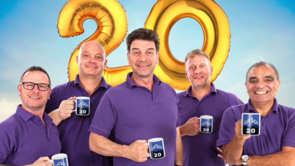 Mark Millar, Julian Perry, Nick Knowles, Chris Frediani and Billy Byrne celebrate 20 year anniversary of DIY SOS (Credit: BBC)